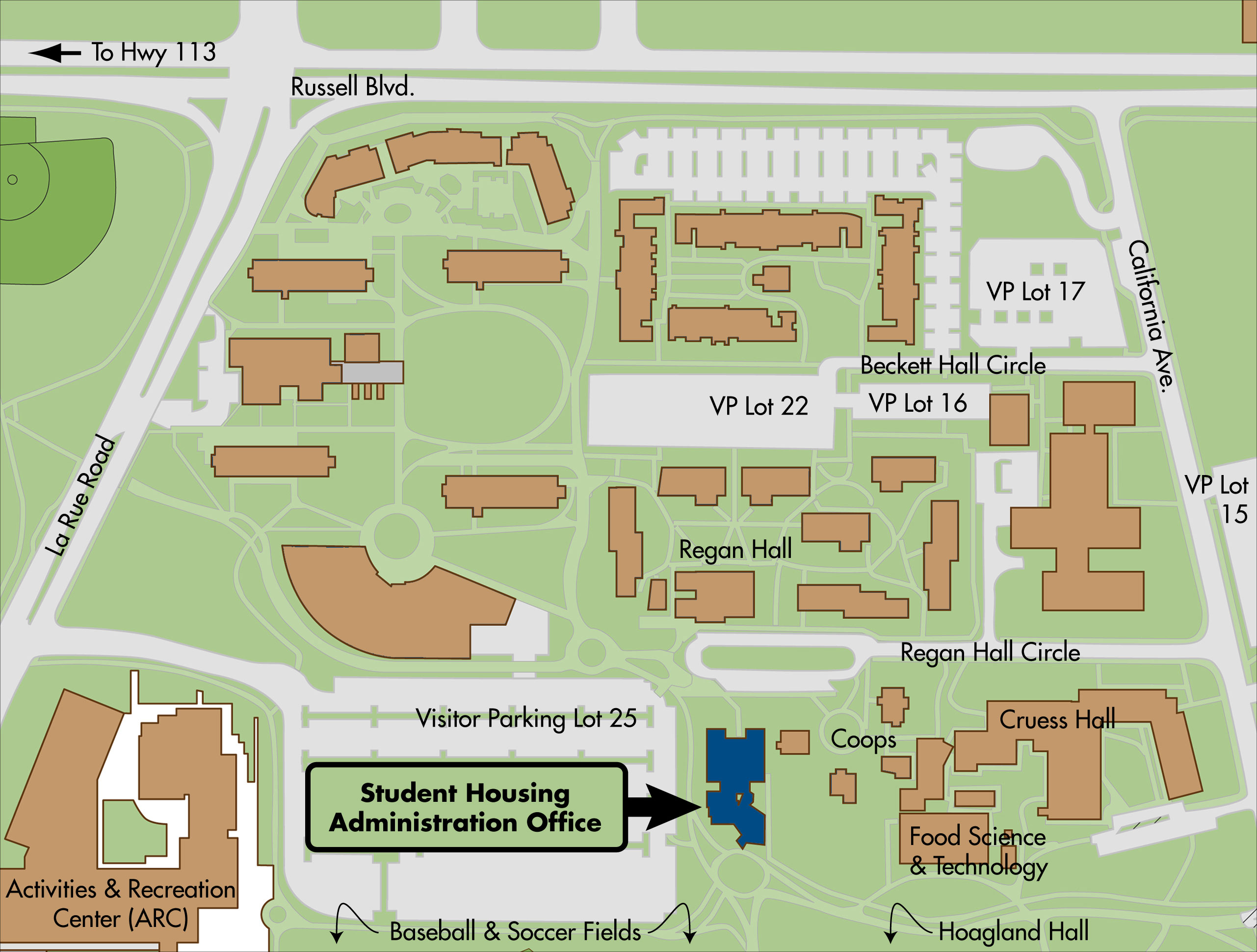 Map of the Student Housing Adminstration Building, located on the eastern edge of Visitor Parking Lot 25 in the northwest corner of campus.