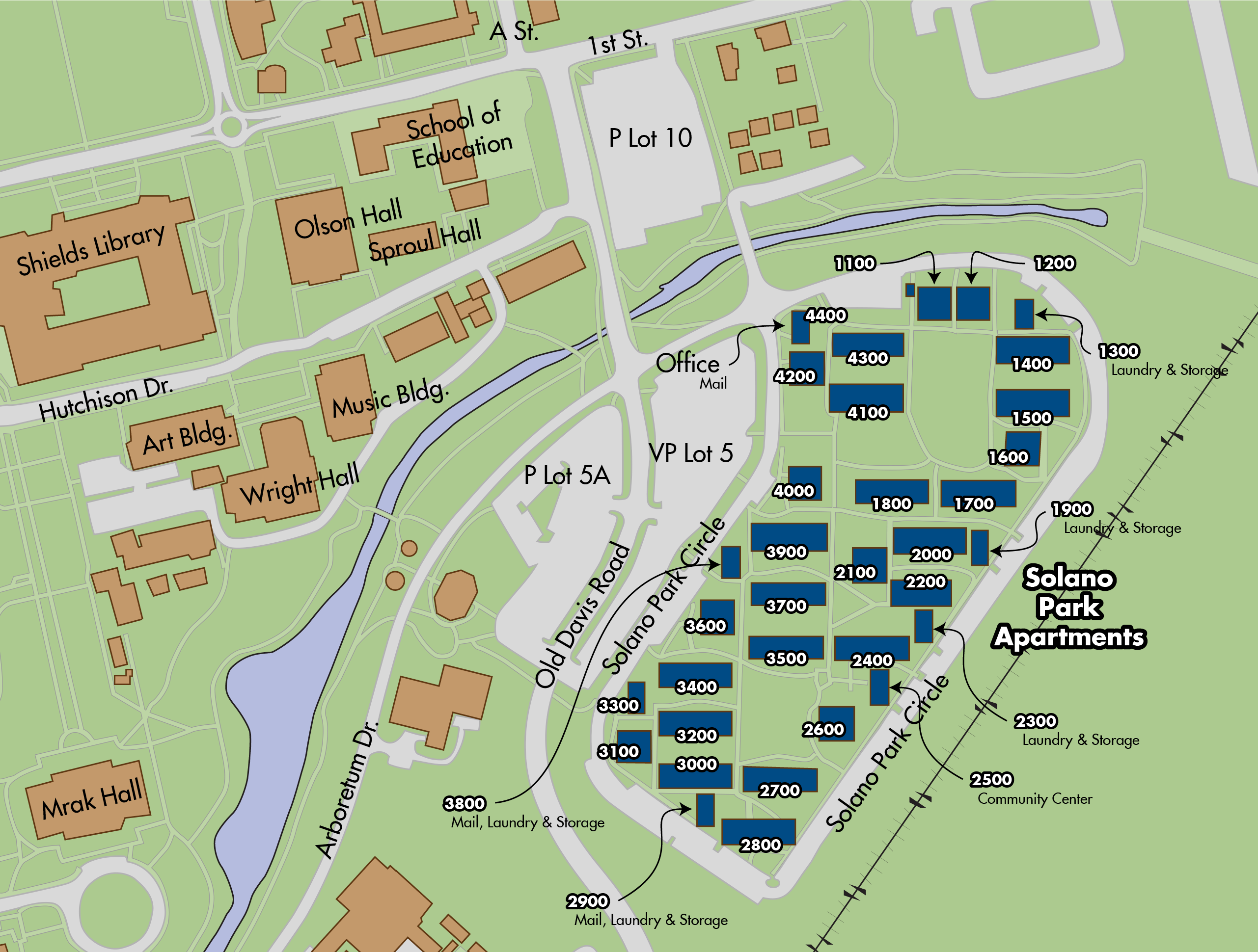 Map of Solano Park apartments locations on the UC Davis campus