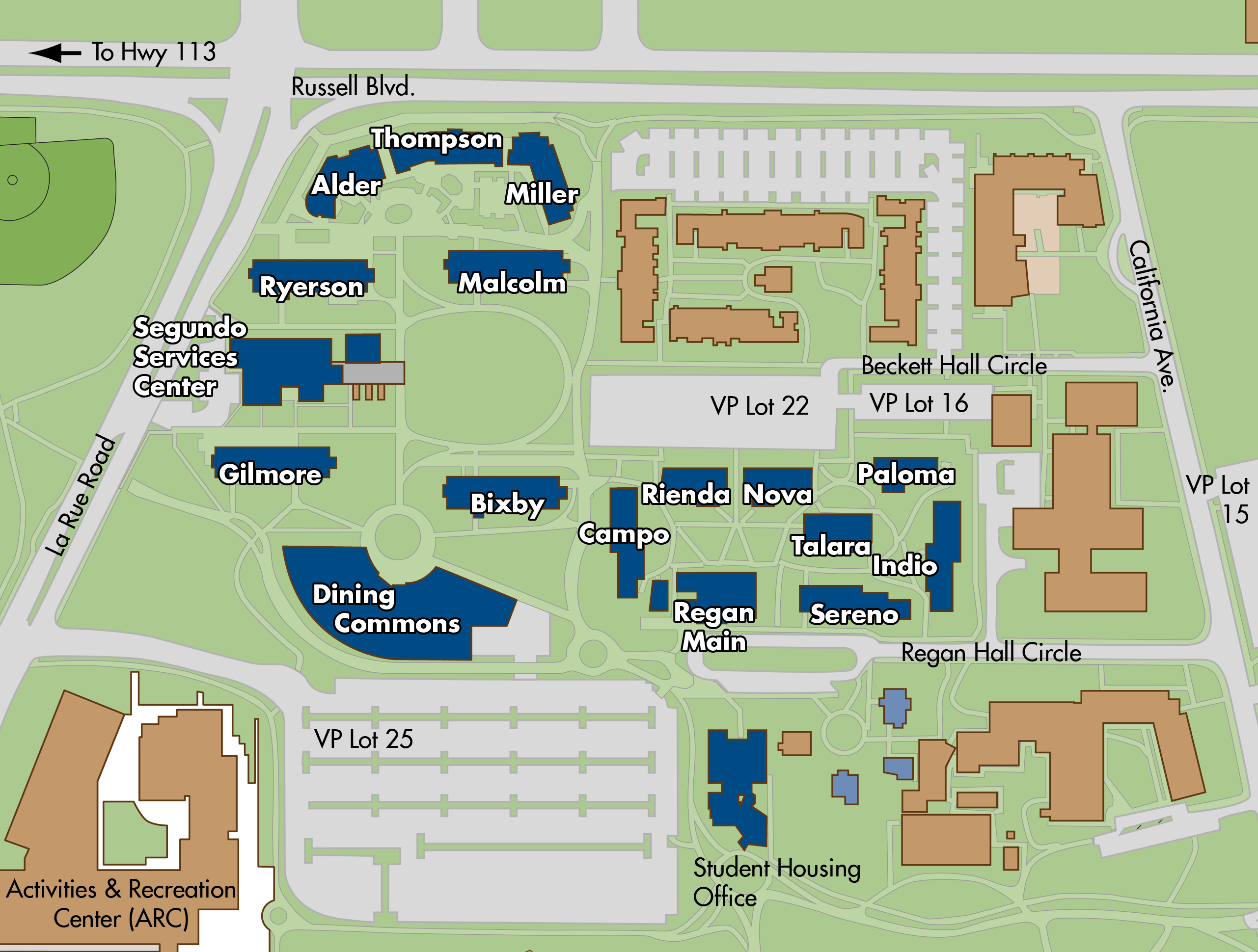 Map of Segundo area residence halls locations on the UC Davis campus