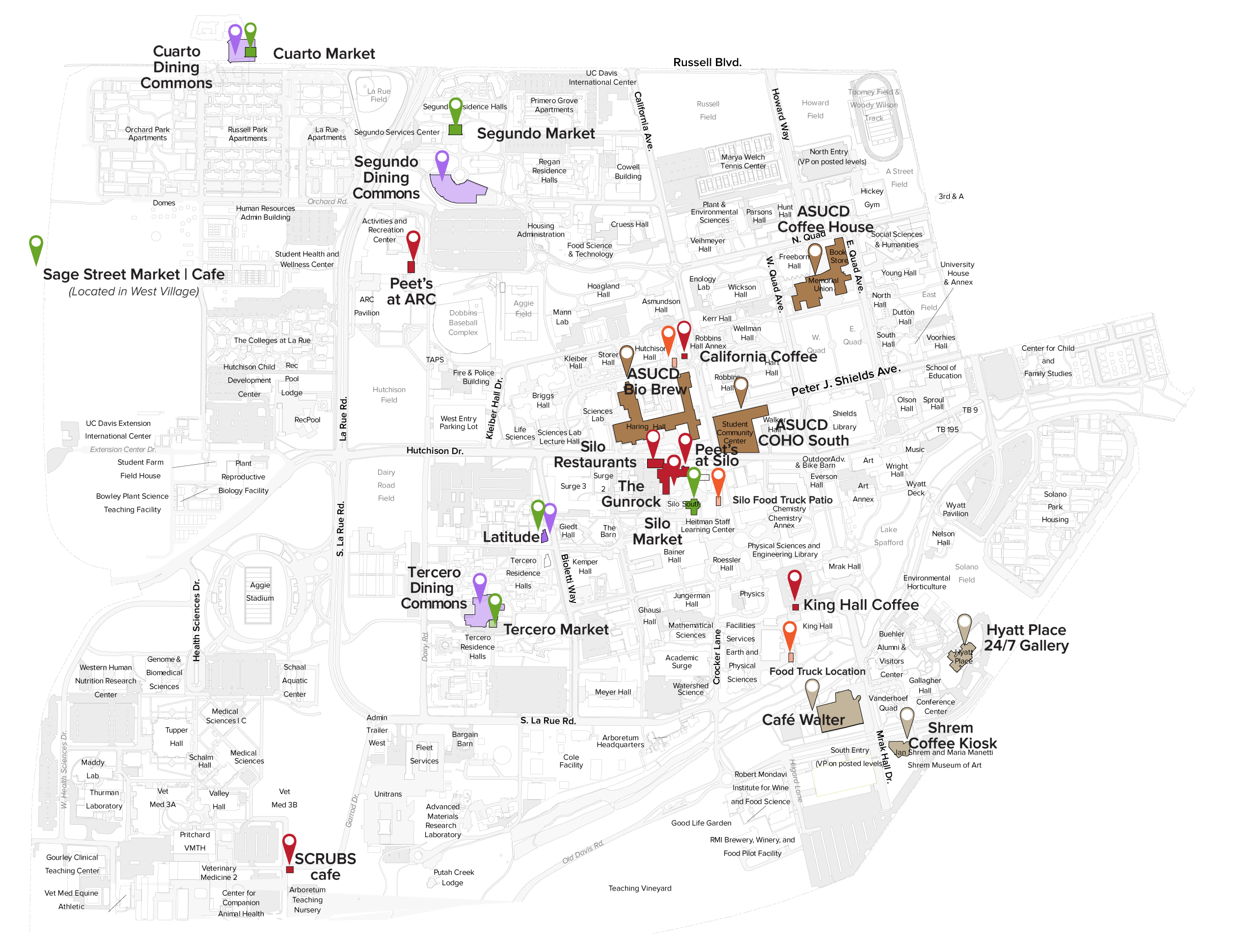 Map of the UC Davis campus highlighting the locations of places to eat on campus