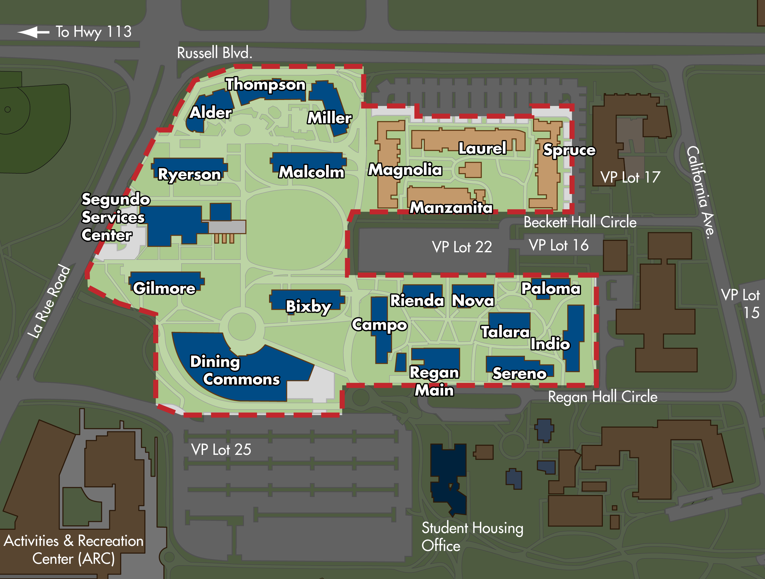Map of the Segundo residence hall area