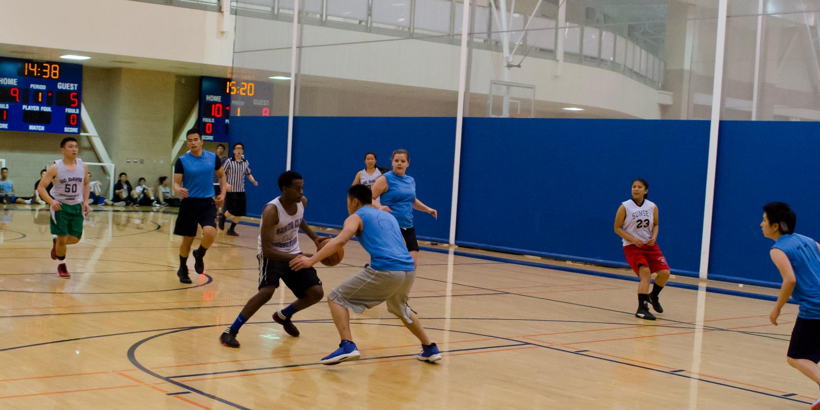 UC Davis students play basketball, one of the sports in the Res Hall Cup Competition