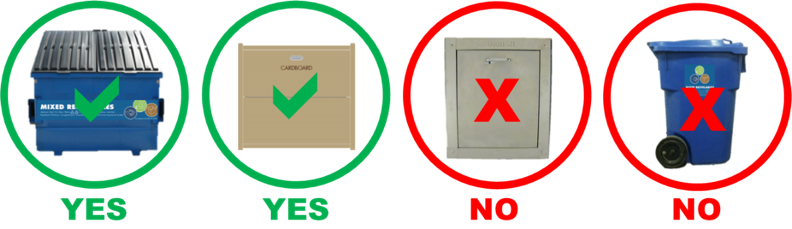 Place cardboard in the mixed recyclables bins; do not put boxes down chutes or in mixed recyclables toters