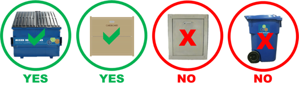 Dispose of cardboard in mixed recyclables and cardboard bins but not waste chutes and mixed recycle toters